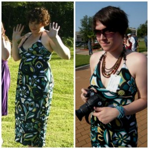On the Left, July 2010, 195 pounds, on the right, July 2011, 159 pounds.