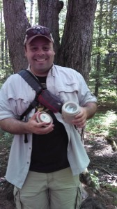 Chris finds his first geocache!