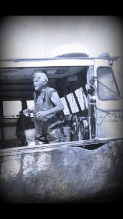 """""""Cap"""" Weimer on his boat in 2012."""