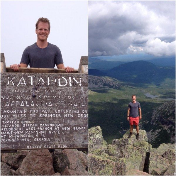 Chris Poulos stands at the summit of Mount Katahdin near the end of his 120 mile journey.