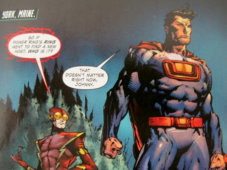 "Bad-guy versions of Superman and The Flash stare down the possible end of Earth in the latest ""Forever Evil"" DC comic book. Check out where they are."