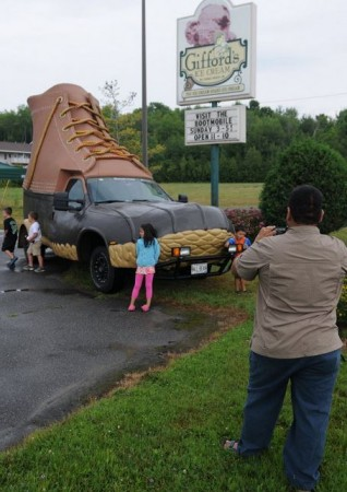 No. 13: We're all totally unfazed by a giant boot cruising down the highway. (BDN file photo by Kevin Bennett)