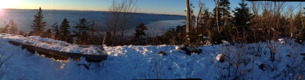 End of the day run, Witherle Woods, Castine Maine, overlooking Penobscot Bay.