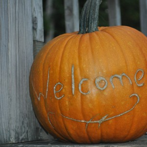 This pumpkin took even more forethought and good timing.  But it graces our front porch as if to say, 'totally worth it'.