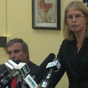 Mary Mayhew at a news conference