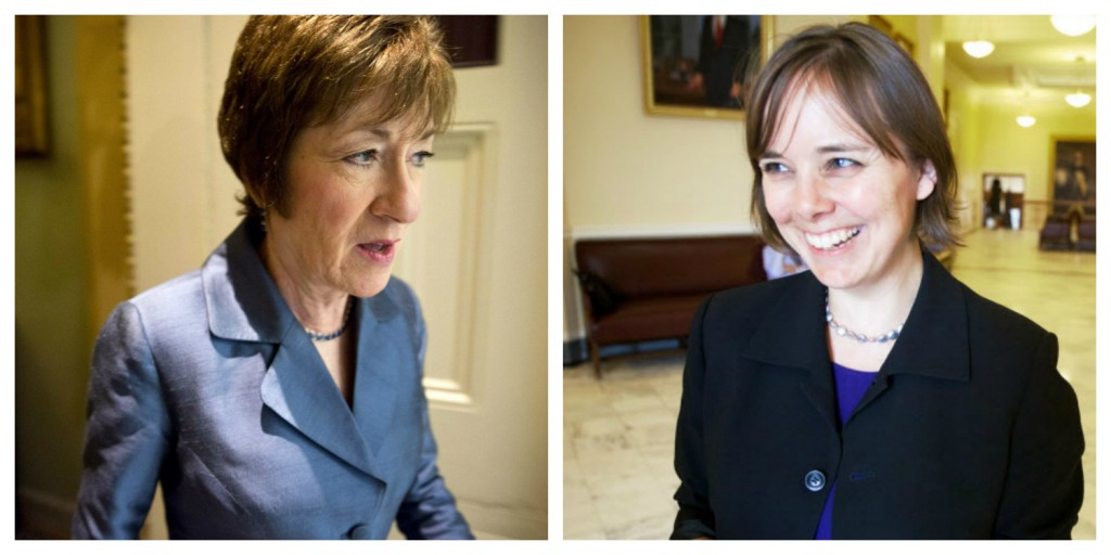 U.S. Sen. Susan Collins and her 2014 Democratic opponent, Shenna Bellows. Reuters photo (Collins) by Joshua Roberts. BDN photo (Bellows) by Troy Bennett. Photo illustration by Mario Moretto.