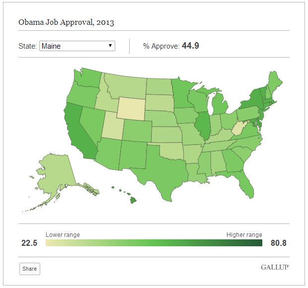 Maine's assessment of President Barack Obama's job approval was a few points under the average in 2013. Screenshot from Gallup.