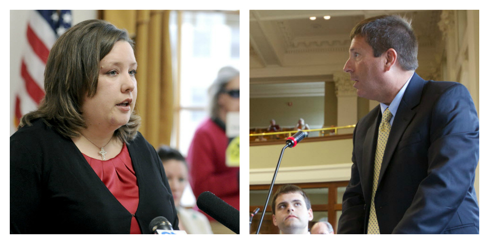 Rep. Diane Russell, D-Portland, left, and House Minority Leader Ken Fredette, R-Newport, right. BDN photos by Troy Bennett. Photo collage by Mario Moretto.
