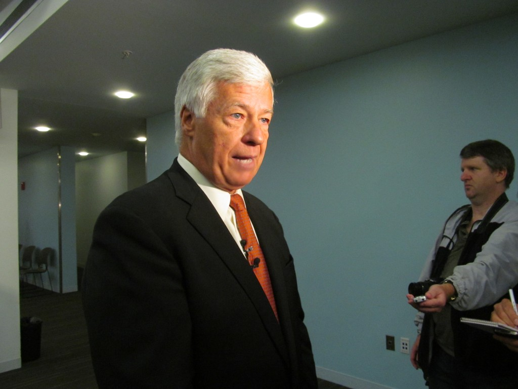 U.S. Rep. Mike Michaud, D-Maine, discusses compromise legislation he helped negotiate that is aimed at correcting problems in the Veterans Administration health care system during a campaign stop at the Portland Public Library on Monday. Christopher Cousins/Bangor Daily News