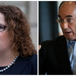 Emily Cain and Bruce Poliquin, candidates for the 2nd Congressional District seat. BDN file photos