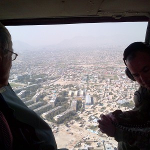 U.S. Sen. Angus King, I-Maine, in a Blackhawk helicopter flying over Kabul during a two-day trip last weekend. Photo courtesy King's Senate office.