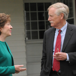 Sens. Susan Collins and Angus King in Skowhegan in May 2014. Gabor Degre | BDN