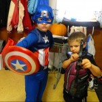My kids, as Captain America and Hawkeye.