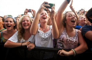 Fans cheer and snap photos during August 2012's Mumford & Sons show on Portland's Eastern Prom. (BDN photo by Troy R. Bennett)