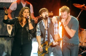 Lady Antebellum members (from left) Hillary Scott, Dave Haywood and Charles Kelley perform at the Bangor Waterfront in 2011. (BDN photo by Gabor Degre)