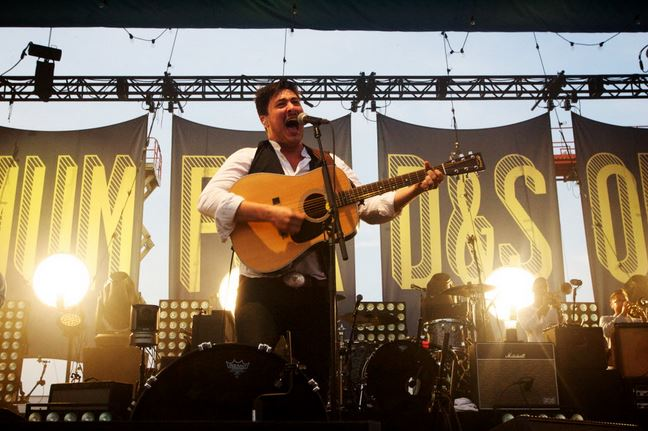 "Marcus Mumford of Mumford and Sons sings in Portland August 4, 2012 on the ""Gentlemen of the Road"" tour stop on Portland's Eastern Promenade in 2012. (BDN photo by Troy R. Bennett)"