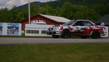 Bangor-based Last Ditch Racing Team Subaru driven by John Cassidy and co-driver Dave Getchell begin their race to the top of Mount Washington in Sunday's Climb to the Clouds 2014. The team placed third in the Rally Open Class.