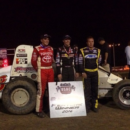 My friend and tremendous USAC Silver Crown sprint car driver Kody Swanson, center wins the Hustle on the High Banks 50 lap race on the 1/2 mile dirt track in Beltsville, Kansas. On the left is third place Christopher Bell and second place Tracy Hines on right. Swanson continues to hold the USAC National Silver Crown title lead. Photo courtesy Jordan Swanson