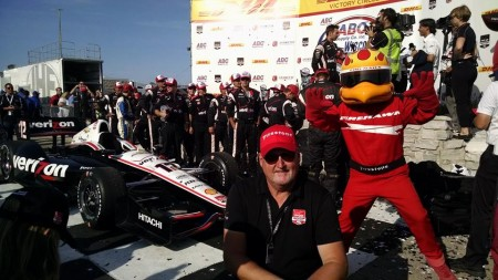 Washburn's Steve Doody, a Showcar Specialist with the Verizon Wireless Indy Car, in the center with red hat got to be part of Victory Circle celebrations at the Milwaukee Mile in Wisconsin Sunday afternoon.