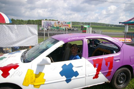 Dell Brisette's Bomber Car painted in Aroostook Autism and Pink Aroostook Support Group colors. The $1000 to win 100 lap fundraiser will be Saturday night at Spud Speedway in Caribou