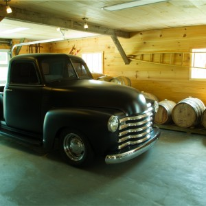 Antique car at Sweetgrass Distillery