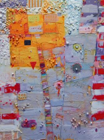 Mystic Ladder, encaustic on panel, by Carey Corea.