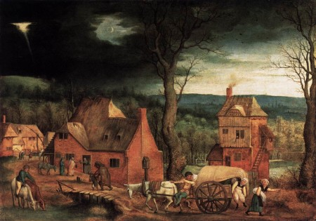 """""""Arrival of the Holy Family in Bethlehem,"""" 1543, Cornelis Massijs. Same story, totally different outcome."""