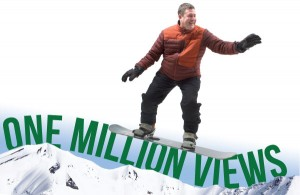 "Our creative promotions staff had its work cut out for it in turning me into a snowboarder for an upcoming ad campaign. I may have fallen down before I got to the ""W"" in ""VIEWS."" (BDN graphic by Shelley Sund)"
