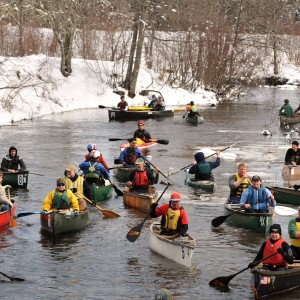 Participants of the 2011 Passagassawakeag River Race wait for at the start. This year's race has been canceled due to ice on the river. It's the first time the race has been canceled in its 41-year history.  (BDN FILE PHOTO BY GABOR DEGRE)