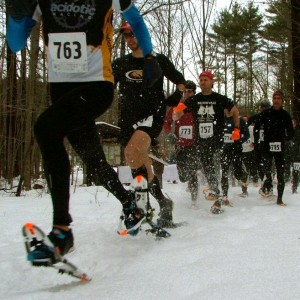Courtesy of Ian Parlin and Blaine Moore Competitors race down a trail at Bradbury State Park for Bradbury Blizzard's 2012 Snowshoe Race, which was held during the first Great Maine Outdoor Weekend, a schedule of outdoor events organized throughout Maine on March 2-4, 2012.
