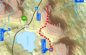 My general route, guessing about the spur trail heading up to the west peak.