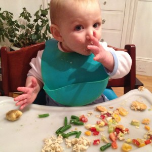 Mt son modeling his bib-bucket while not really eating any of the 8 different foods on his tray.