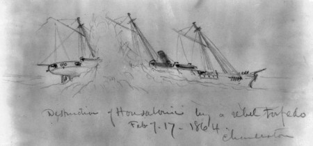 A war artist sketched the moment when an explosion damaged the starboard quarter of the USS Housatonic on Feb. 17, 1864. (Library of Congress)