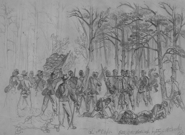 Combat artist Edwin Forbes sketched soldiers of the Sixth Corps, Army of the Potomac, fighting in the thick woods north of the Orange Turnpike during the Battle of The Wilderness in early May 1864. Just south of the turnpike, men of the 20th Maine Infantry battled Confederate troops in similar thick woods; sight distance was limited, and the debris-strewn floor of the piney forest caught on fire. (Library of Congress)