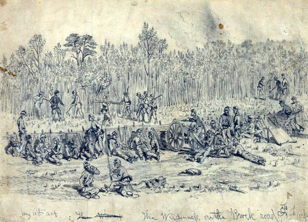 Men assigned to the Second Corps, Army of the Potomac, cut down the thick undergrowth growing near the Brock Road in The Wilderness and use the tree limbs and trunks to construct fortifications as fighting unfolds in the impenetrable forest. Theodore Gerrish described how men of the 20th Maine Infantry built similar breastworks by cutting down all the trees 165 feet in front of the regiment's lines during mid-morning on May 5, 1864. A few hours later, the Maine boys went forward with their division and plunged into a horrendous fight. (Library of Congress)