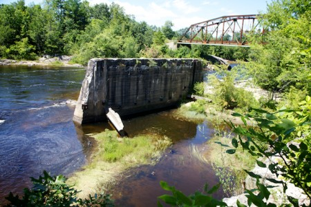 What's left of Steep Falls' pulp mill, with the bridge crossing the Saco River into Limington from Standish. (Bangor Daily News photo by Troy R. Bennett)