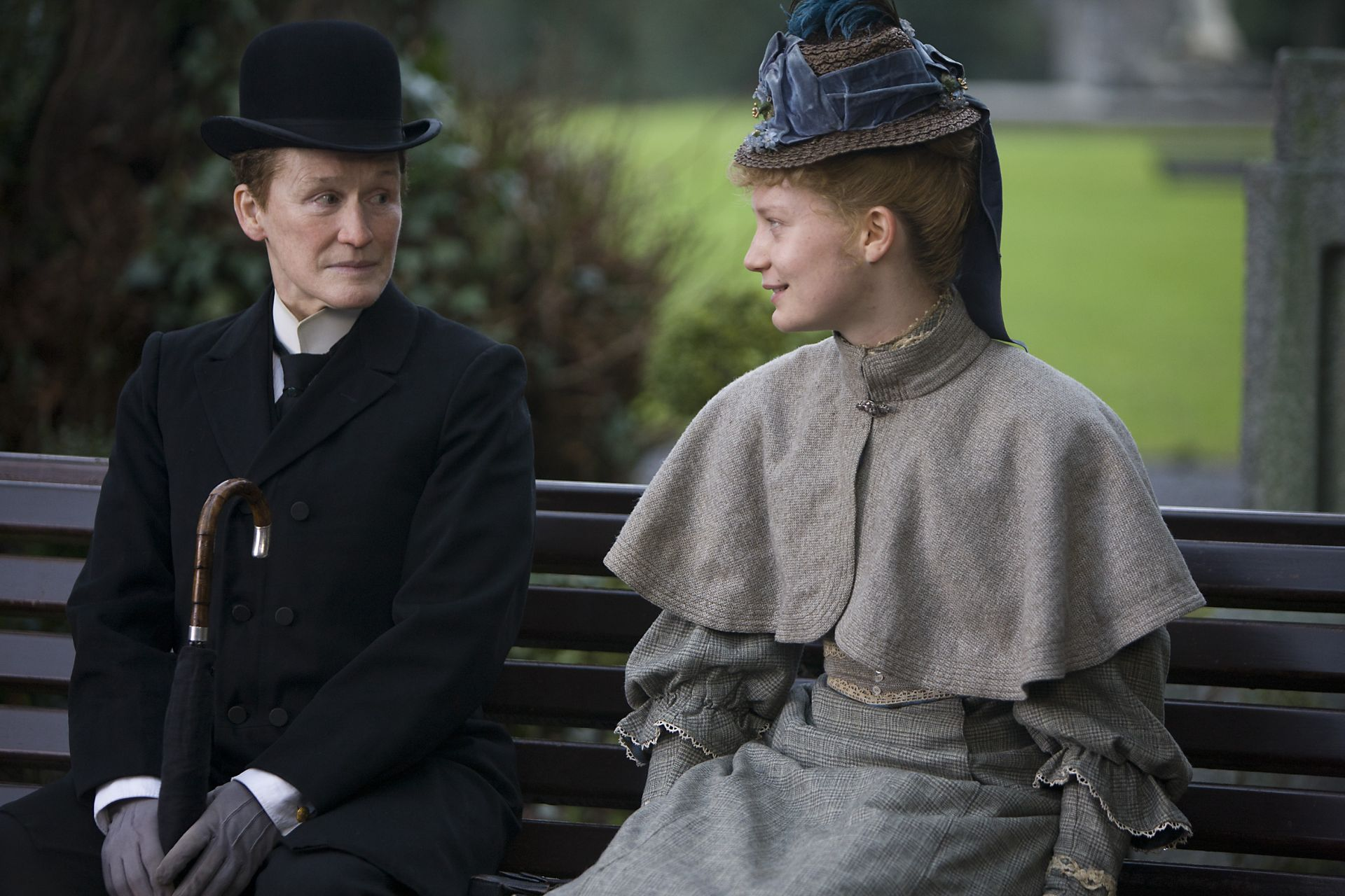 "Glenn Close stars opposite Mia Wasikowska in the 2013 film ""Albert Nobbs."""