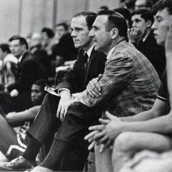 Costello in a sideline shot during a men's basketball game in Gorham in 1968. Always cool and collected, Costello rarely got mad at his players, and didn't ever think to question an official's call, even if it was the wrong one.
