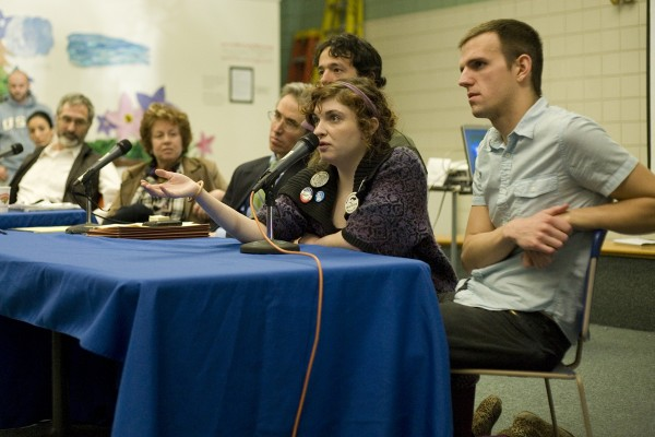 USM student and Occupy Maine member answers a question Thursday at a teach-in at USM regarding the protest.