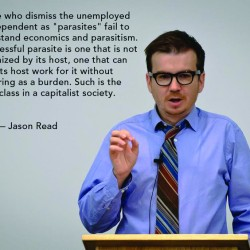 "This photo and quote of philosophy professor Jason Read became widely viewed after it was posted on the news aggregator Reddit, and the blog of ""Star Trek"" actor Wil Wheaton."