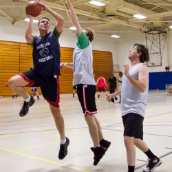 The University of Maine Law team play full court against each other twice a week at the Sullivan Gym in Portland.