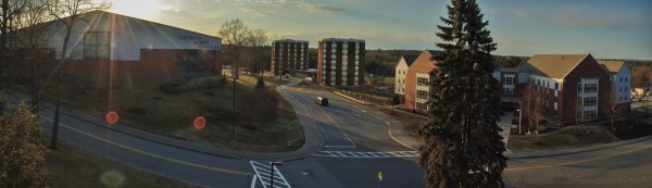 A panoramic shot of the Gorham campus shows (left) the Costello Sports Complex, (Center) Dickey Wood Hall, (Right) Philippi Hall. The Dickey Wood and Philippi halls house residential USM students.