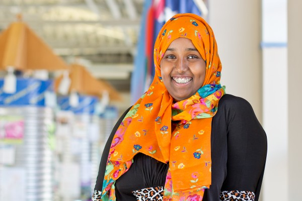 Third year biology major Shadiyo Hussainali is a member of the multicultural club, the pre-health club, and is vice-president of the Muslim Students' Association. Hussainali has worked as an assistant for an emergency doctor, and she plans to become an emergency physician or an emergency OB GYN.
