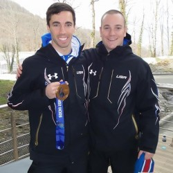 Ben Towne (right), clinic coordinator of athletic training at USM, pictured with USA skeleton Bronze Medalist Matt Antoine (left) during the 2014 Winter Olympics in Sochi, Russia.