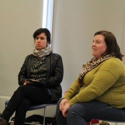 Student Body President Kelsea Dunham (right) discussed her involvement in the Direction Package Advisory Board's vision committee during a meeting of the College of Arts, Humanities and Social Sciences faculty.