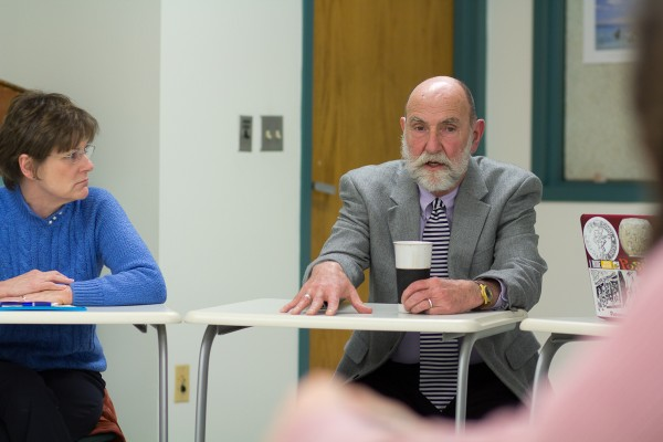 Chief Student Affairs Officer Susan Campbell (left) met with Recreation and Leisure studies department chair David Jones and students in the program to coordinate a reaction to the proposed cuts.