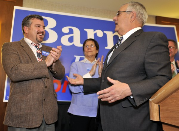 In this Nov. 2, 2010 file photo, Rep. Barney Frank, D-Mass. (right), thanks his partner Jim Ready at a party in Newton, Mass., after Frank won re-election in the 4th Congressional District.