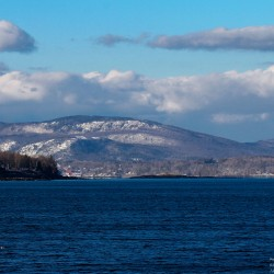 Camden Hills from the Rockland breakwater.