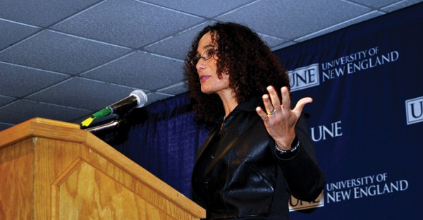Dr. Tricia Rose, who teaches Africana studies at Brown University in Providence, R.I., speaks about civil rights at the University of New England in Biddeford on Wednesday, Jan. 15, 2012. Rose was a keynote speaker for the university's celebration of Martin Luther King Jr.