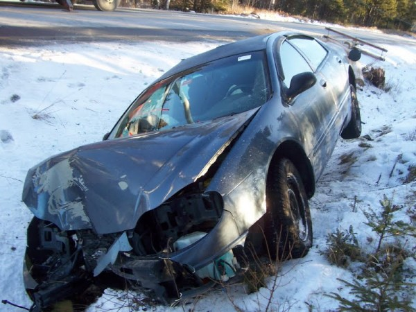 Nancy Minard, 62, of Jackman suffered minor injuries early Wednesday when her vehicle left Route 15 and struck a telephone pole, according to police.
